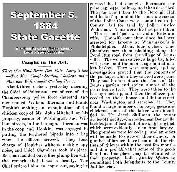 1884 CHICKEN THIEVES IN CHAMBERSBURG AND DEUTZVILLE